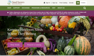 screenshot of Seed Savers Exchange website