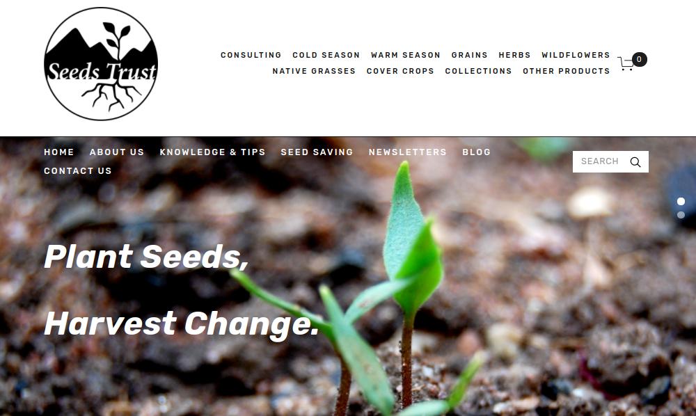 screenshot of Seeds Trust website