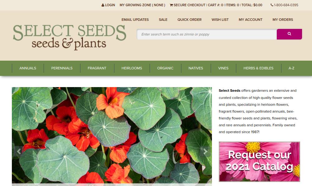 screenshot of Select Seeds website
