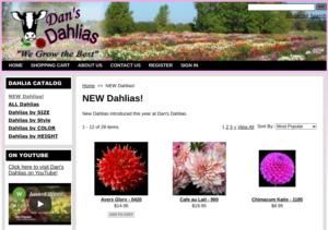 screenshot of Dan's Dahlias website