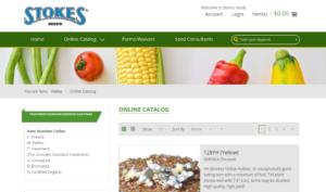 screenshot of Stokes Seeds website