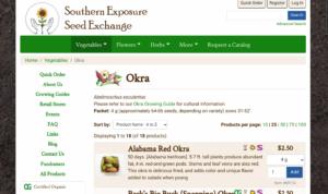 screenshot from Southern Exposure Seed Exchange website