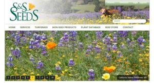screenshot of S & S Seeds website