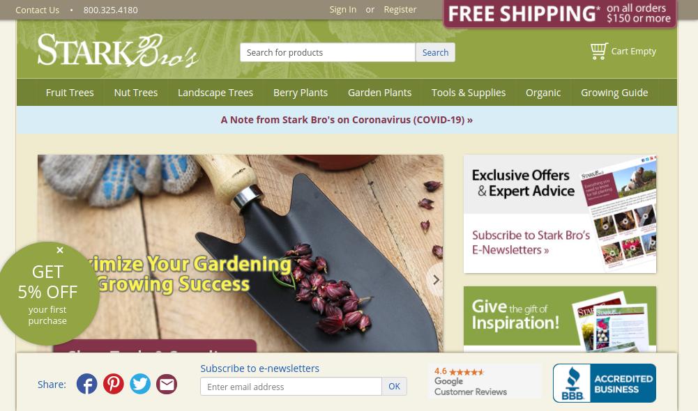 screenshot of Stark Bro's website