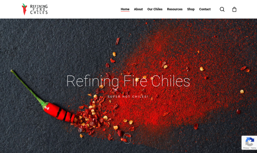 screenshot of Refining Fire Chiles website