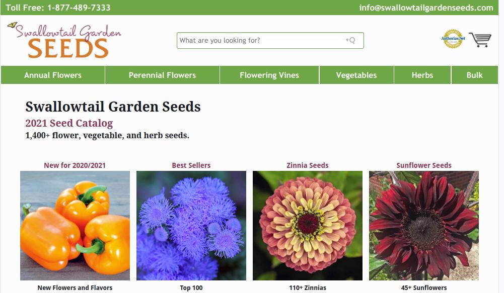 screenshot of Swallowtail Garden Seeds website