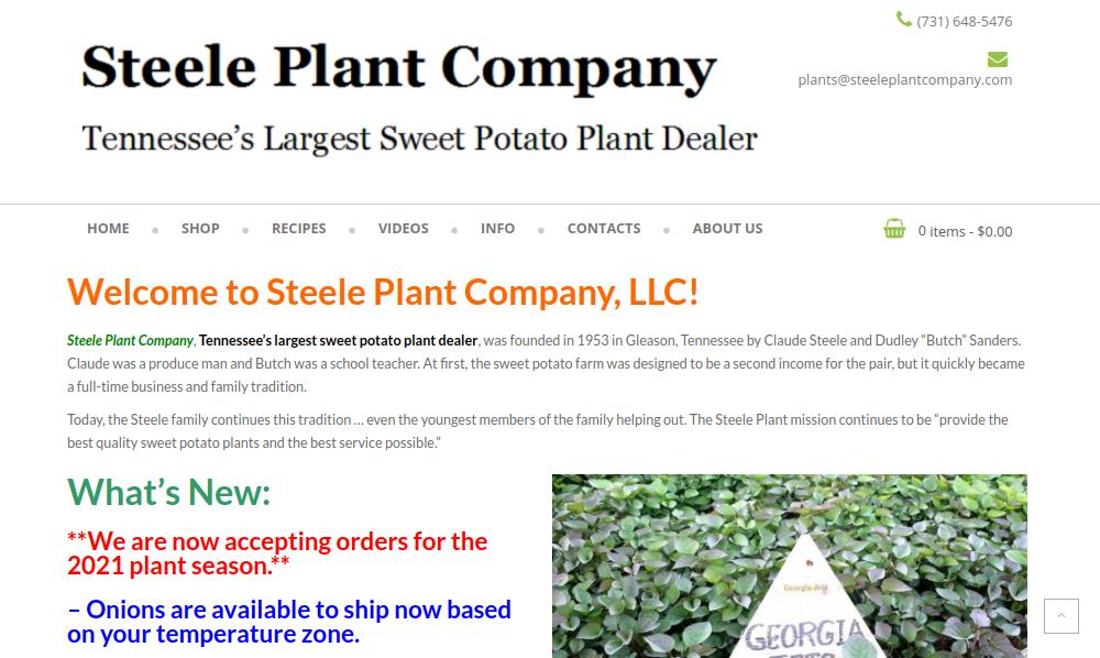 screenshot of Steele Plant Co. website