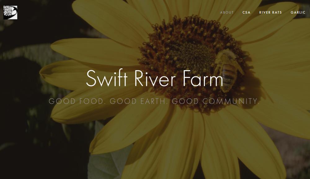 screenshot of Swift River Farm website