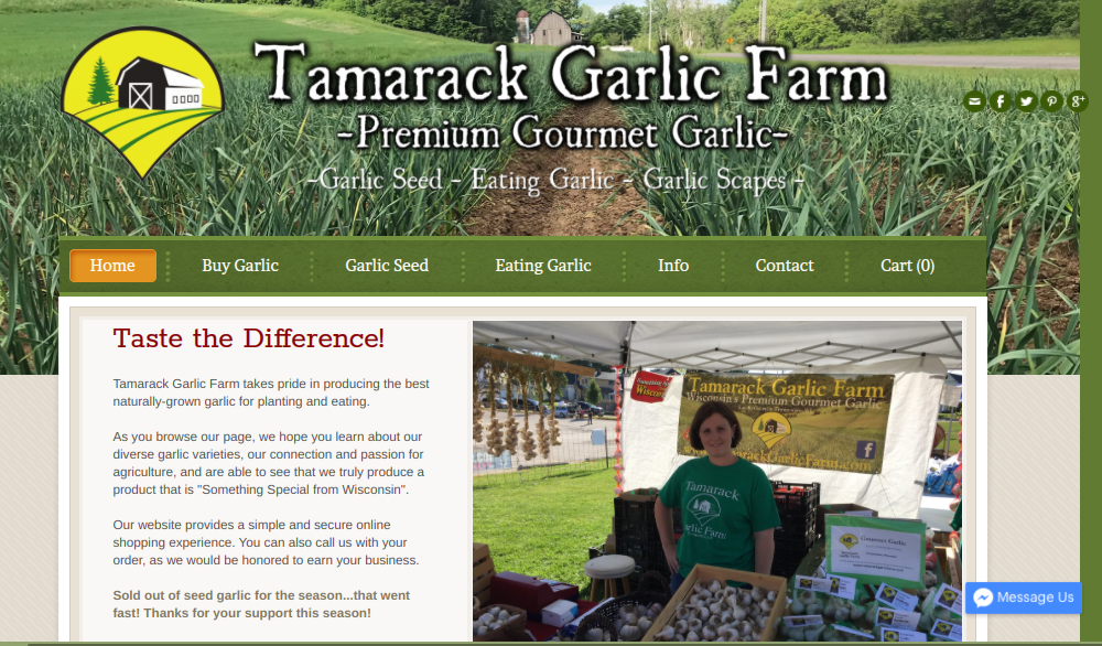 screenshot of Tamarack Garlic Farm website