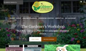 screenshot of The Gardener's Workshop website