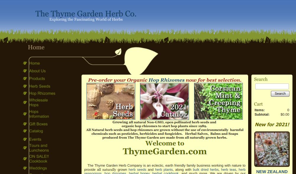 screenshot of The Thyme Garden Herb Co. website
