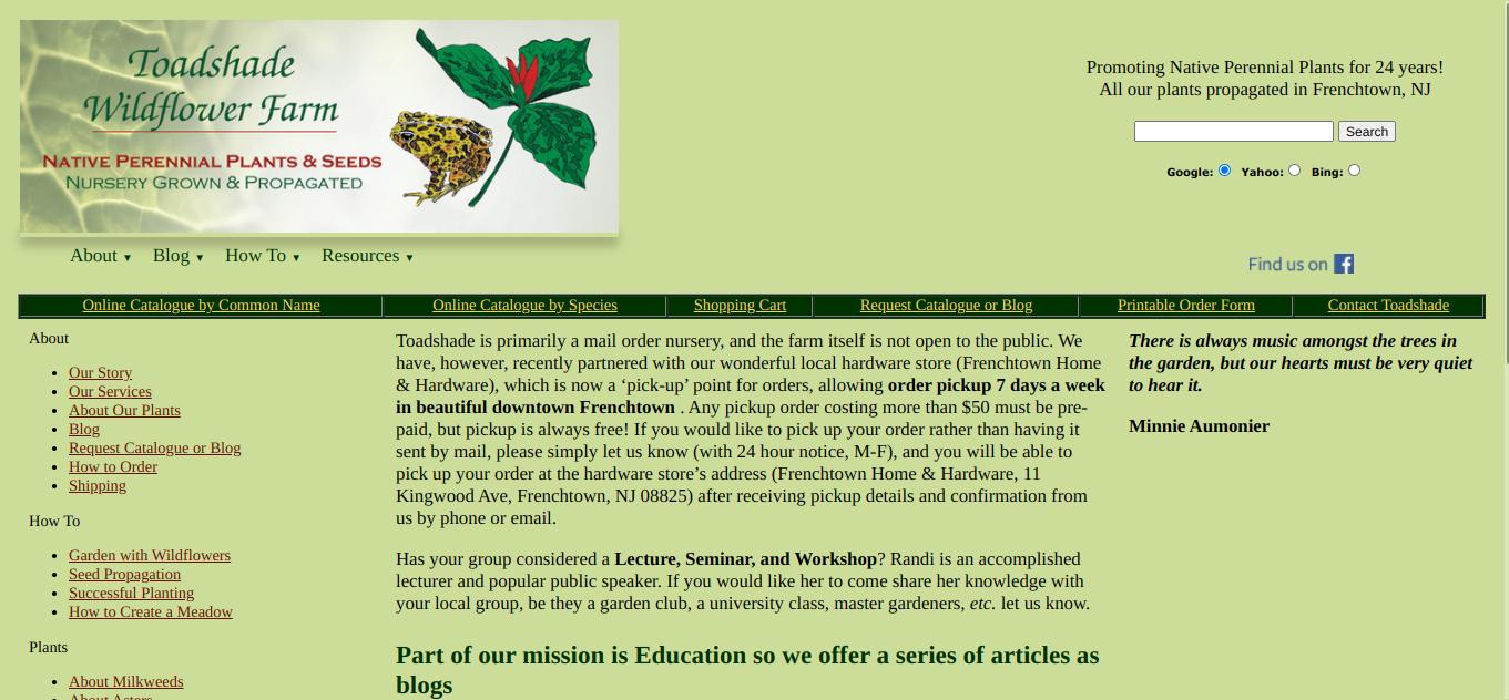 screenshot of Toadshade Wildflower Farm website