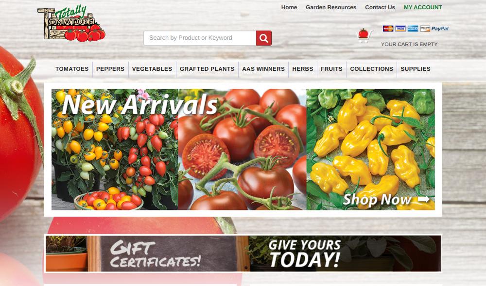 screenshot of Totally Tomatoes website