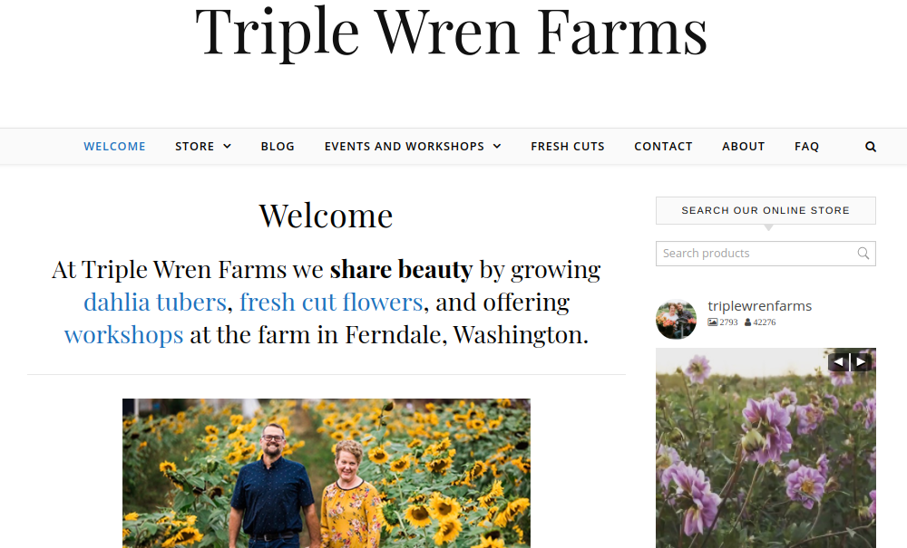 screenshot of Triple Wren Farms website