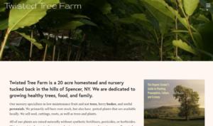 screenshot of Twisted Tree Farm website