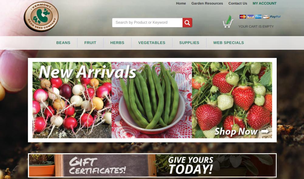 screenshot of Vermont Bean Seed Co. website