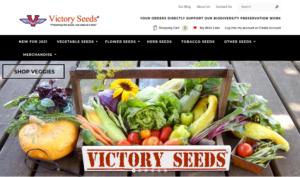 screenshot of Victory Seed Company website