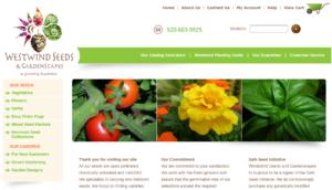 screenshot of Westwind Seeds & Gardenscapes website