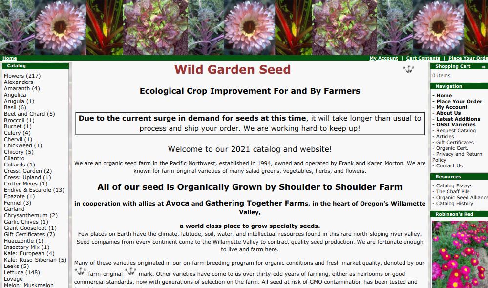 screenshot of Wild Garden Seed website