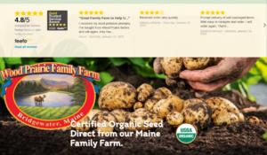 screenshot of Wood Prairie Farm website